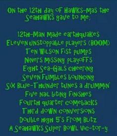 12th day of Hawkmas. Seahawks!