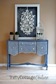 Spring is in the air! Updated buffet using Old Violet, Louis Blue, & Old White Chalk Paint® decorative paint by Annie Sloan | By Thrifty Cottage Couture http://www.thriftycottagecouture.com/