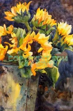 Sunflower Bucket, painting by artist Kay Smith