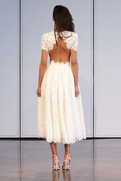 PRINCE: Short Sleeved Guipure Lace Dress With Full Skirt