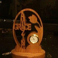 Wooden amazing grace desk clock by Fine Crafts on Opensky