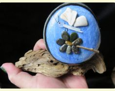 pebble art pebbleart painted rock stone ocean beach butterfly flower