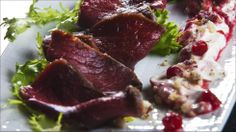 Reindeer in cognac, cranberries and hazelnut sourcream - Norwegian Christmas food :)