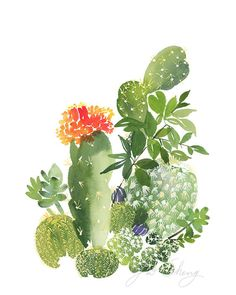 Cactus No. 3 Watercolor Art Print by YaoChengDesign on Etsy
