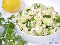Lemony Cucumber Couscous Salad from Budget Bytes. Could substitute orzo instead of couscous. Vegetarian Recipes, Cooking Recipes, Healthy Recipes, Greek Marinated Chicken, Greek Chicken, Grilled Chicken, Planning Menu, Couscous Salad, Feta Salad