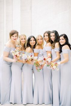 """This Couple Said """"I Do"""" Under a 25' Art Installation at Their Celestial Inspired Wedding Dusty Blue Bridesmaid Dresses, Bridesmaid Dress Styles, Brides And Bridesmaids, Pastel Wedding Colors, Best Wedding Colors, Wedding Doves, Bridesmaid Inspiration, Gray Weddings, Summer Weddings"""