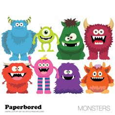 Clipart de monstres monstres mignons Clip Art par Paperbored