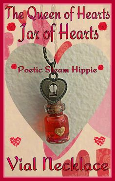 We're all mad here in Wonderland especially The Queen of Hearts! Take along this jar of hearts and you will have a little bit of the Red Queen's power wherever you go!  Made with 0.5 mL glass vial, nail art, bronze alloy chain, a heart locket charm and acrylic enamel paint. Necklace is 20 inche...