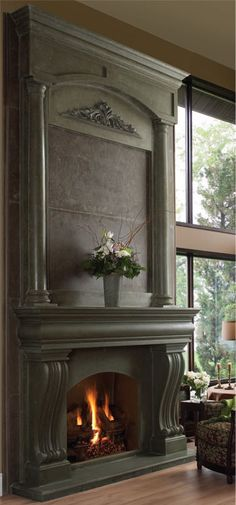 17 Ideas Craftsman Mantel Decor Low Budget - The fireplace mantel is one of our favorite spots on craftsman house ideas to style — it's such a cinch to switch up with the seasons. Stone Fireplace Mantel, Fireplace Redo, Custom Fireplace, Living Room With Fireplace, Fireplace Surrounds, Fireplace Design, Fireplace Accessories, Great Rooms, New Homes