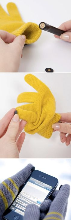 Use buttons on gloves to use with your smartphone!    http://www.likecool.com/Digits_Stay_warm_stay_connected--Apple--Gear.html