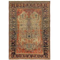 Antique Kashan Mohtashem Rug   1890 DIMENSIONS 4 ft. 2 in.Wx6 ft. L 127 cmWx183 cmL