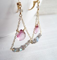 New earrings in my shop - mystic pink quartz with labradorite rondelles. http://www.karinagracejewelry.etsy.com