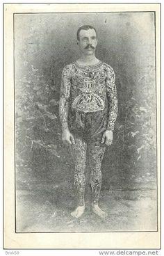 tattoo tattooed man freak sideshow oddity  circus tatoo