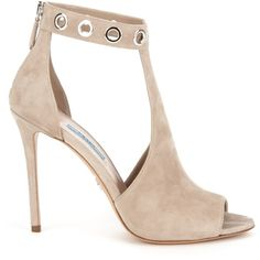 Prada nude suede Tronchetti sandal with steel-finish metal eyelets on the ankle strap, peep toe, steel-finish back zip closure, suede heel, and leather lining. Wrap Shoes, Ankle Wrap Sandals, Ankle Strap Shoes, Shoes Sandals, Strap Sandals, Heeled Sandals, Pretty Shoes, Beautiful Shoes, Stiletto Heels