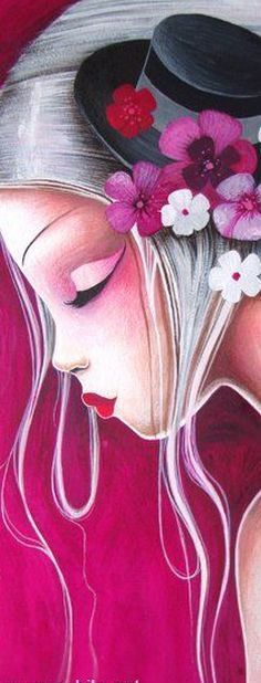 Sybile Art, acrylic and oil paintings - 4 Art And Illustration, Whimsical Art, Beautiful Paintings, Medium Art, Face Art, Painting & Drawing, Pink Painting, Painting Inspiration, Fantasy Art