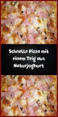 Quick pizza with a dough made from natural yogurt - Ingredients For the dough: 200 g flour 1 pack baking powder tsp salt 150 g natural yogurt 5 tbs - Pizza Girls, Quick Pizza, Pizza Snacks, Party Food Platters, Natural Yogurt, Pizza Party, Hawaiian Pizza, Veggies, Food And Drink