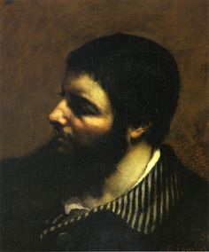 Self-Portrait with Striped Collar - Gustave Courbet,1854,  oil on canvas, 37 x 46 cm, Musée Fabre, Montpellier, France