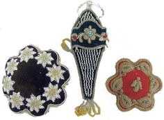 2 Antique IROQUOIS BEADED  Sewing Pin Cushions and 1 Wall Hanging for keeping a Scissor