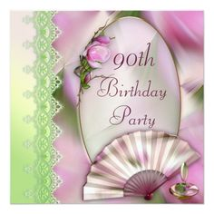 Pretty Pink Magnolia Fan 90th Birthday Invitation