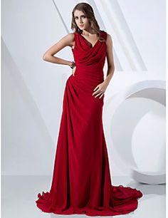 Evento Formal Vestido - Elegante Funda / Columna Capucha / Cuello en V Larga Raso con Recogido Lateral