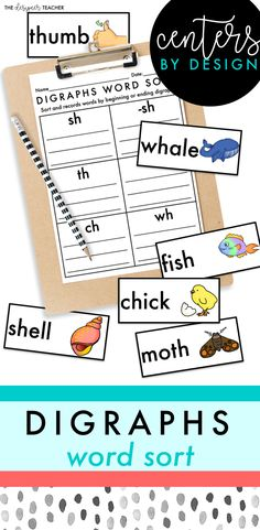 Engage your students and provide needed decoding and spelling practice of words with SH, CH, TH, & WH by using this digraph word sort as a group center activity or independent work task. Clear fonts and recognizable images make this activity perfect for ELLs and students with IEPs.
