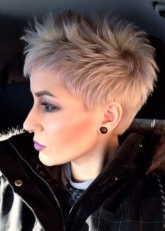 Short Pixie Haircut for Platinum Hair