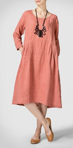 Linen Empire Waist Midi Dress in Light Salmon Red