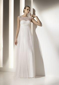 Column Style Bateau Neckline Floor Length Gauze Chiffon Satin Wedding Dresses with Empire Waist.