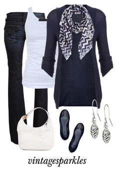 """""""Chevron Scarf"""" by vintagesparkles78 ❤ liked on Polyvore featuring Hudson, Tusnelda Bloch, WalG, David Szeto, Rotenier, Tory Burch and Michael Kors"""