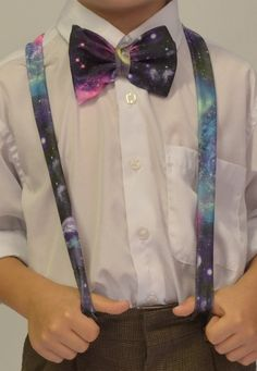 Galaxy print Boys Bow Tie and Suspenders on Etsy, $25.00// OMG I would die if I saw a guy wearing those. lol
