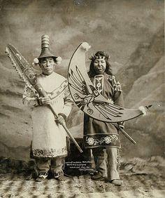 Tlingit man and woman in full dancing costumes, Alaska