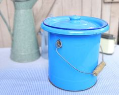 Blue enamelware vintage French Enamel Pail with lid by FrenchGypsy