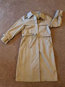 London Fog Trench Coat Womens Size 12 Reg Khaki Tan | eBay
