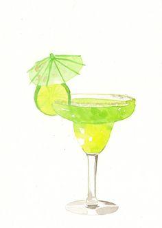 Original watercolor Painting Green Margarita Cocktail by MilkFoam
