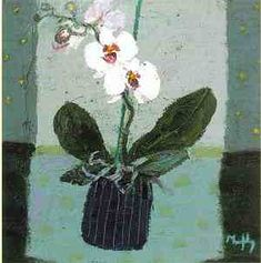 Orchid and Striped Jar by Sandy Murphy