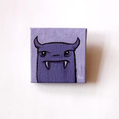 Purple Monster Tiny Original Acrylic Painting on Canvas by Karen Watkins kmwatkins on Etsy