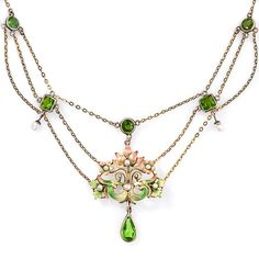 Delicate and beautiful art nouveau peridot-like enamel and pearl necklace, circa 1900.