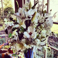 19 best silk flowers paul fenner floral design images on pinterest white silk flower collection in blue crystal vase part of the bloomfield hills collection from michigan collaboration with andrew joseph designs mightylinksfo
