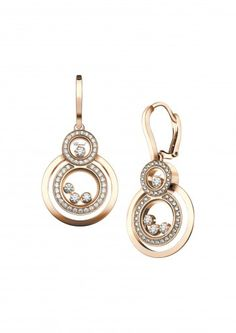 Chopard Pair of Earrings Happy 8 Earrings 18k rose gold and diamonds