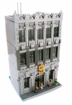 Neoclassical National Bank by Brian Lyles on MOCpages.  Holy smokes, look at all the detailing!  Even though this is just grey, its not plain at all!  Has some great techniques and great use of little bitty pieces!