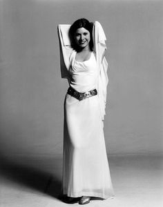 Production shot of Carrie Fisher in her ceremonial dress as Princess Leia