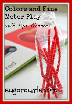 This is perfect for toddlers. They love to drop the pipe cleaners into the bottle's opening.  Enhances fine motor skills, cause-effect, eye-hand coordination, bilateral hand control, not to mention colors!