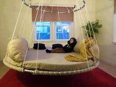 Hanging Round Bed Awesome Round Hanging Bed Design For A Vacation Like Feel, 50 Round Beds That Will Transform Your Bedroom, Round Bed Hanging From Ceiling Round Designs, Room Ideas Bedroom, Bedroom Decor, Trampoline Bed, Indoor Hammock Bed, Circle Bed, Hanging Beds, Diy Hanging, Floating Bed, Round Beds
