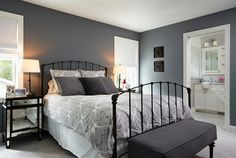 Dark gray paint color. Benjamin Moore Deep Silver 2124-30... the perfect gray! and do a lighter gray in the master bath... YES!