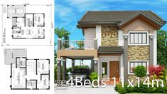 Home design plan with 4 bedrooms.House description:One Car Parking and gardenGround Level: Living room, 1 Bedroom with bathroom, 2 Storey House Design, Simple House Design, Bungalow House Design, Modern House Design, 2 Bedroom House Plans, Dream House Plans, Modern House Plans, Bungalow Floor Plans, House Floor Plans