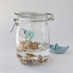 Urlaub im Glas / Holidays in a jar / Upcycling I wonder if glycerin, instead of water, would have a longer shelf life?---W.