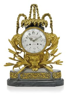 c1778 A LOUIS XVI ORMOLU-MOUNTED BLEU TURQUIN MARBLE STRIKING MANTLE CLOCK THE MOVEMENT BY DAVID-FRÉDÉRIC DUBOIS, PARIS, THE CASE ATTRIBUTED TO BEAUCOUR, DATED 1778 Price realised GBP 12,500