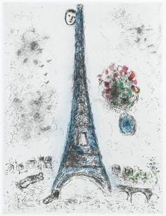 Marc Chagall - illustration of Paris, 1976 (WikiPaintings.org)