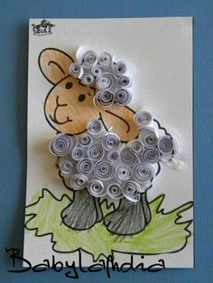 Lamb Quilling Craft- Could go with a Sunday school lesson. I love how the wool looks swirly on the lamb. Lamb Quilling Craft- Could go with a Sunday school lesson. Eid Crafts, Bible Crafts, Easter Crafts, Animal Crafts For Kids, Diy For Kids, Sheep Crafts, Quilling Craft, Paper Quilling, 3d Paper