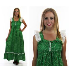 1970s Calico Prairie Dress Vintage 60s Green by neonthreadsdesigns, $37.00